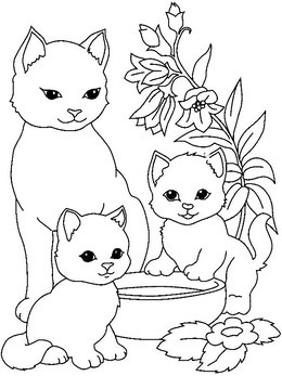 Three cats clipart black and white 8 » Clipart Portal.
