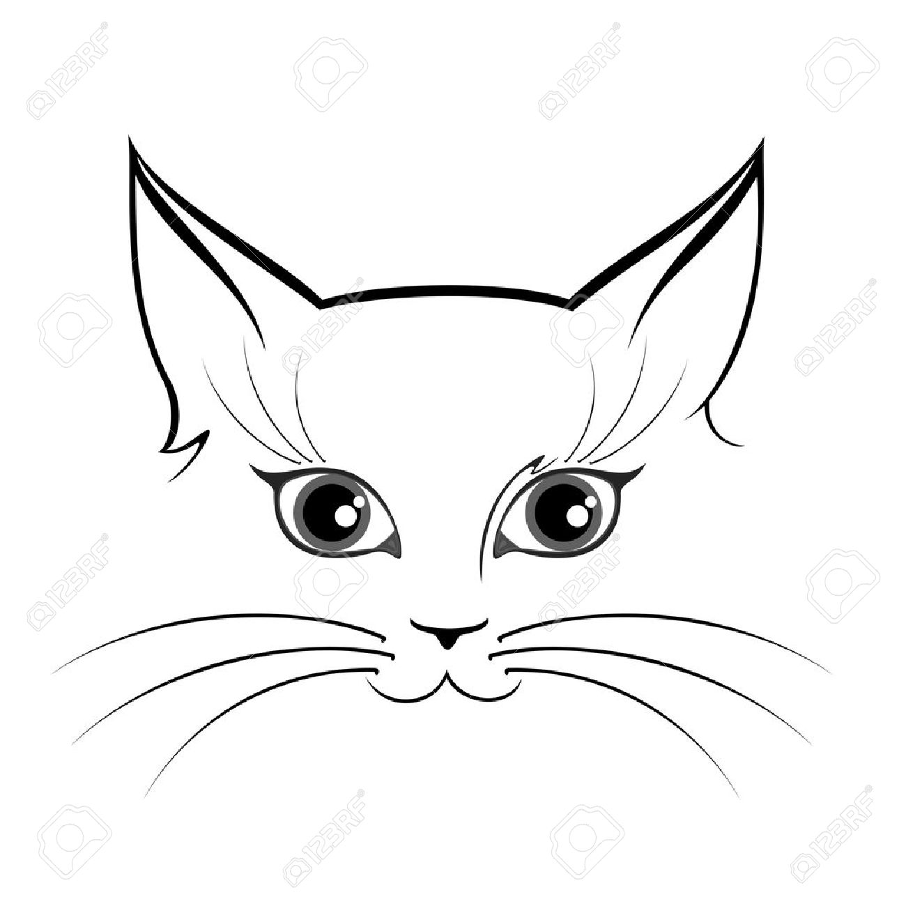 Black and white cat eyes clipart.
