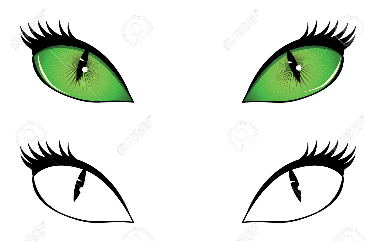 Black and white scary cat eyes clipart.