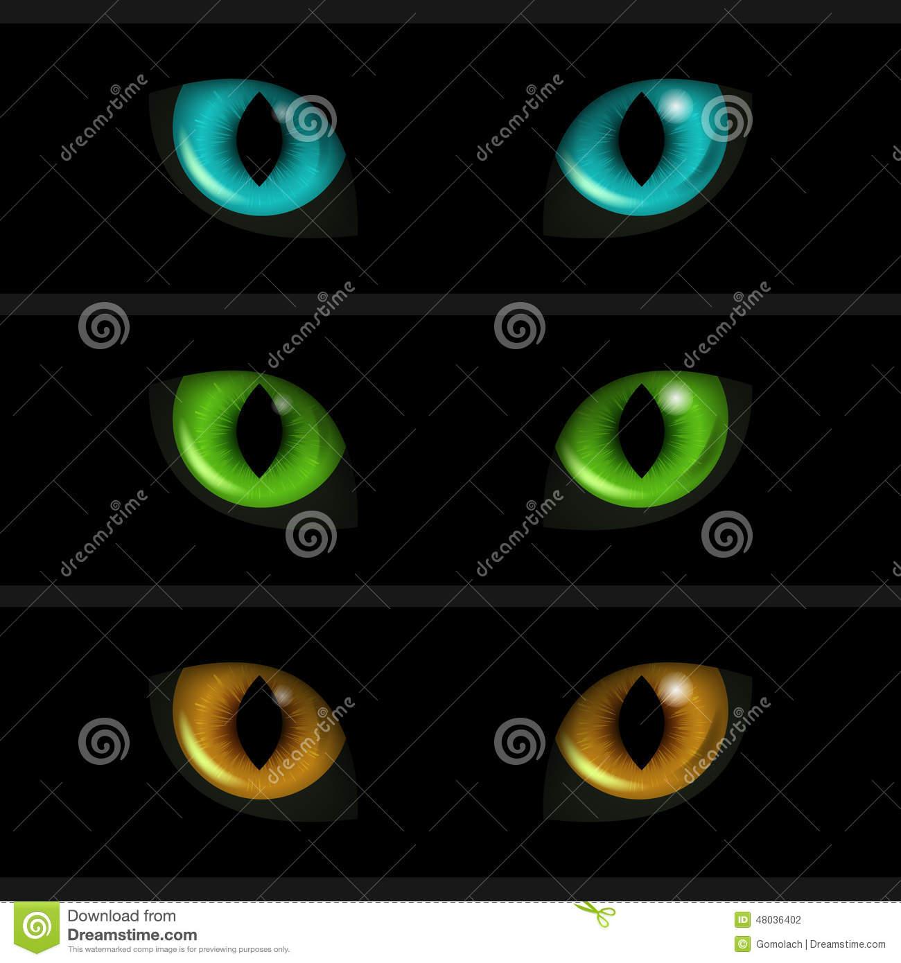 Black Cat Face Eyes Clip Art Stock Image.