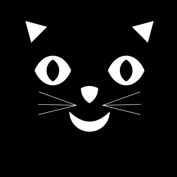 Black cat face clipart.