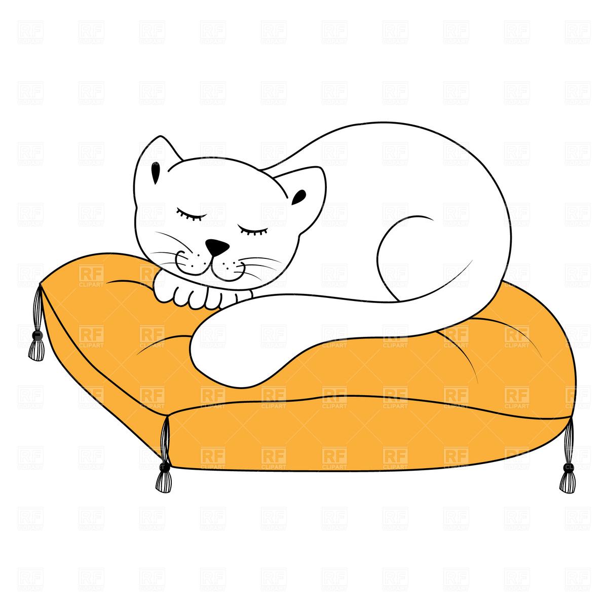 Cat sleeping on pillow Vector Image #1799.