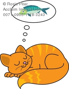 Clipart Illustration of a Cat Dreaming of Fish.