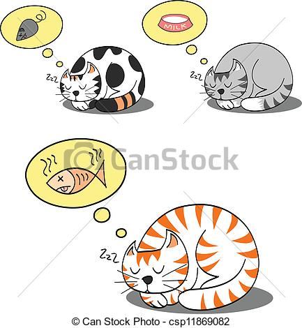 Vector of cats sleeping and dreaming for their food csp11869082.