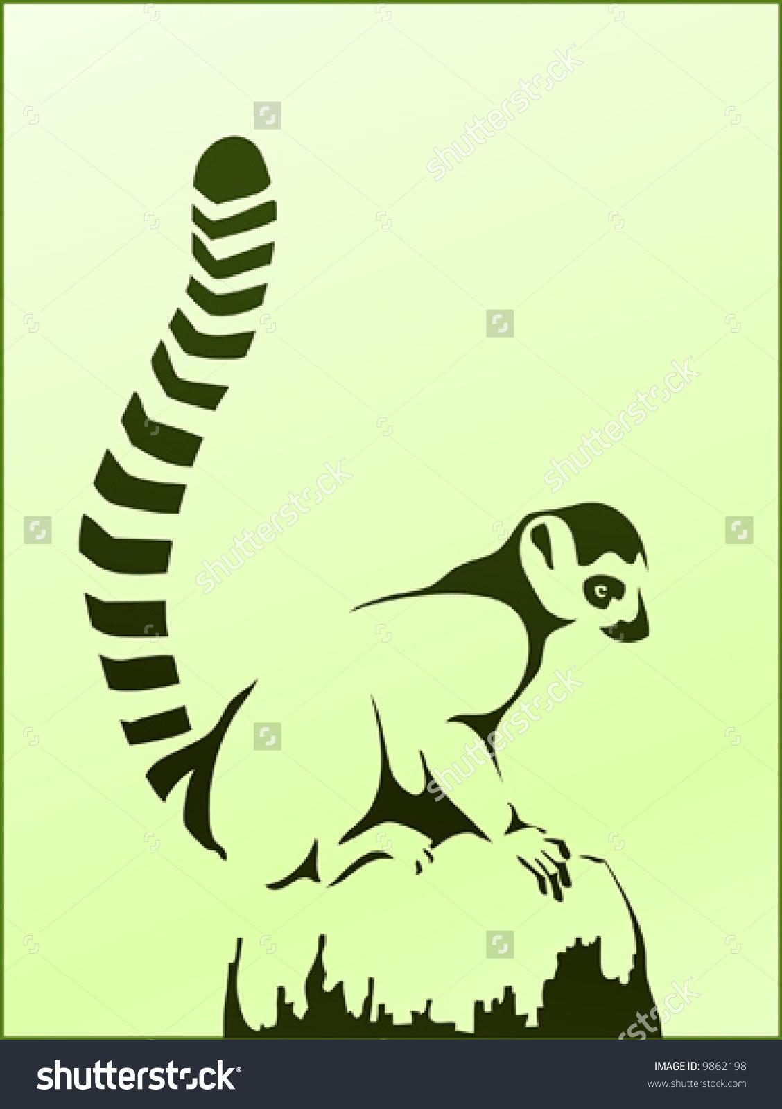 Ringtailed Lemur Or Lemur Catta Sitting Stock Vector 9862198.