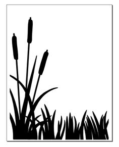 Silhouette Of Cattails.
