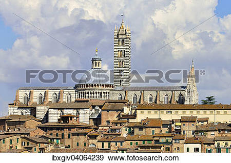 "Stock Photograph of ""Historic centre with the cathedral of Siena."