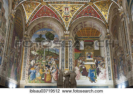 """Stock Photo of """"Historic paintings and frescoes in the Piccolomini."""