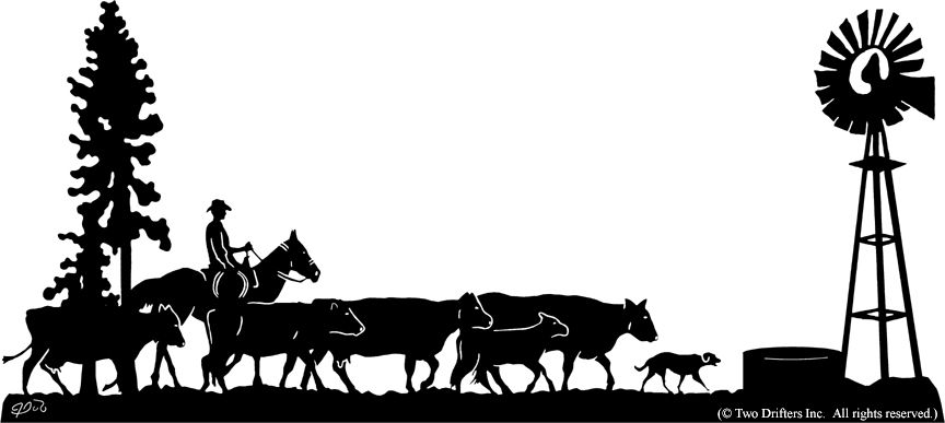 Cattle Silhouette Clipart.