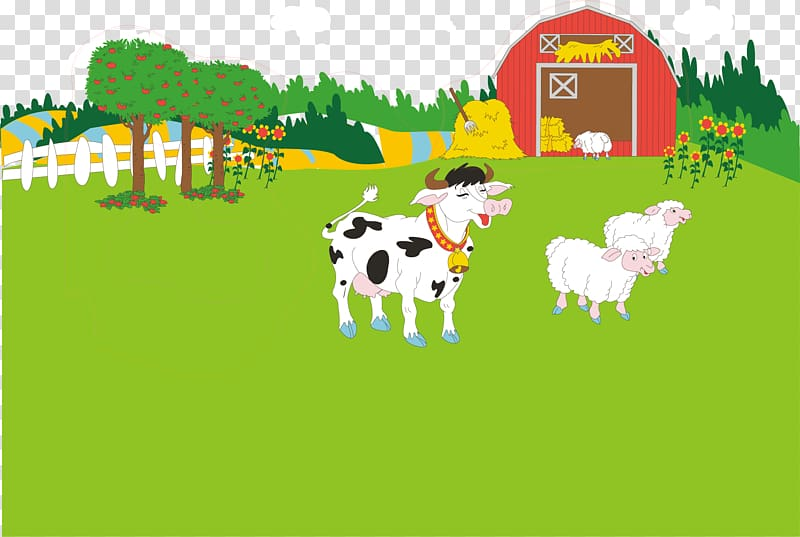 White and black cow on farm near sheep illustration, Dairy.