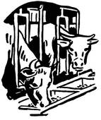 Stock Illustration of A black and white version of two bulls.
