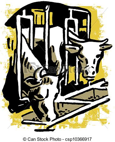 Clipart of Two bulls eating feed through a barn grill csp10366917.