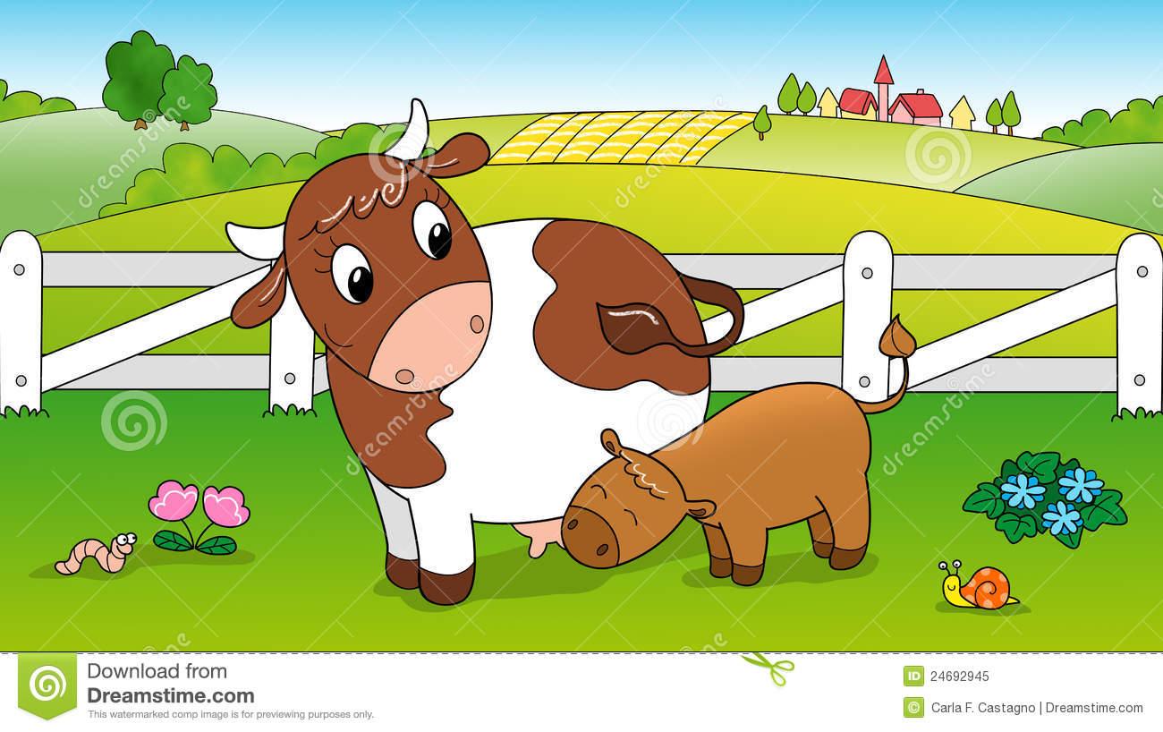 Cute Cow Feeding Calf Royalty Free Stock Photo.