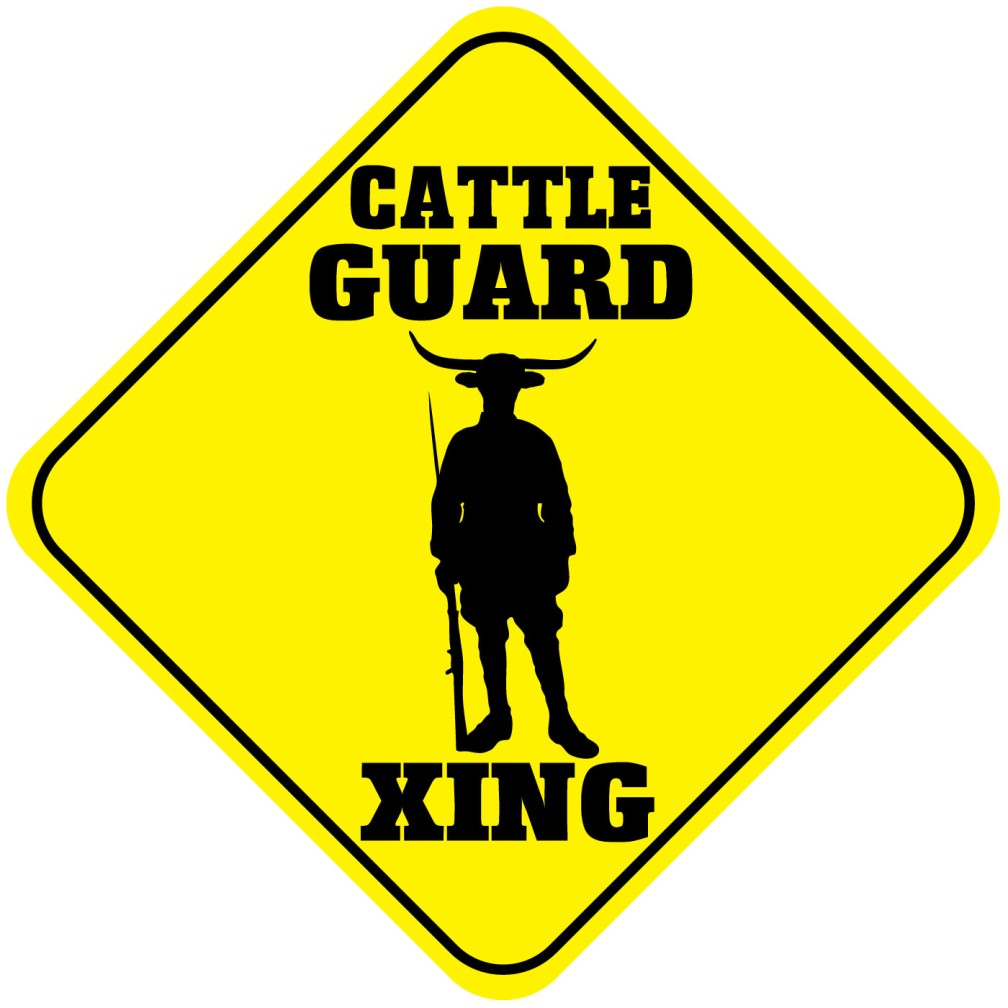 Cattle Guard Crossing Funny Metal Aluminum Novelty Sign.