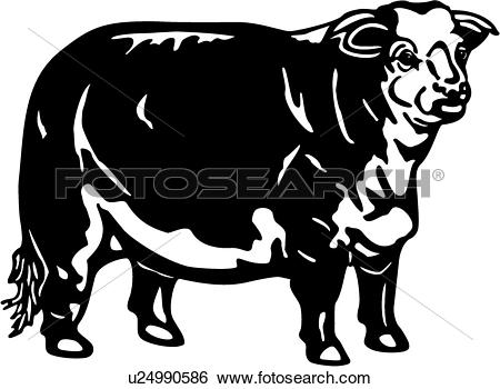 Clip Art of , cattle, animal, breeds, cow, farm, hereford.
