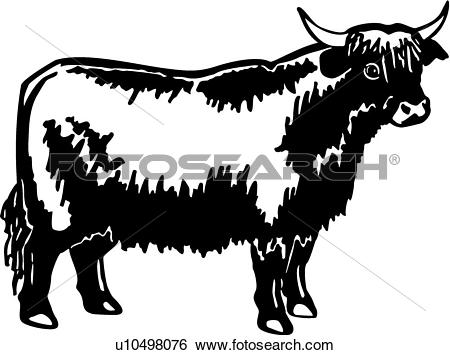 Clip Art of , animal, breeds, bull, cattle, farm, highland.