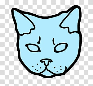 Catwang, blue cat head illustration transparent background.