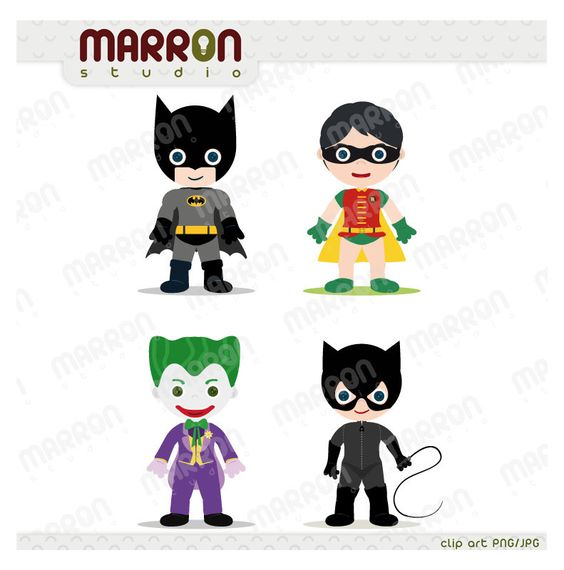 Superhero Inspired set Batman, Robin, Joker and Catwoman Clip Art.