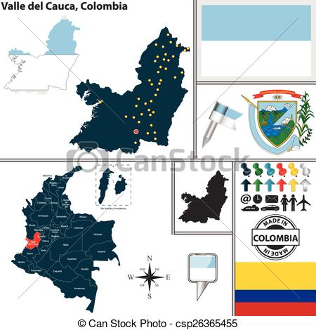 Clipart Vector of Map of Valle del Cauca, Colombia.
