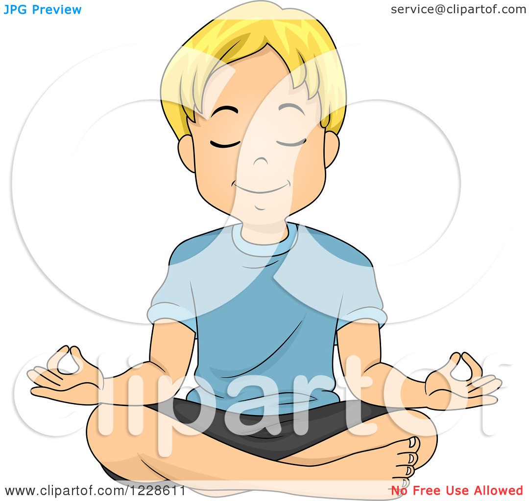 Clipart of a Relaxed Blond Caucasian Boy Meditating.