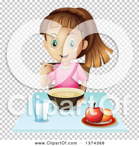 Clipart of a White Girl Eating Soup.