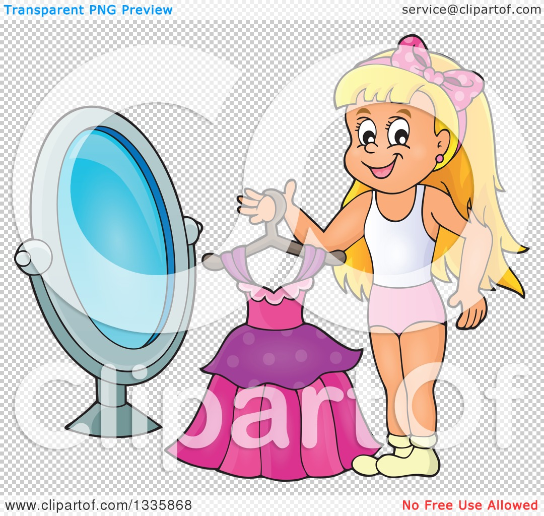 Clipart of a Cartoon Happy Blond Caucasian Girl Holding a Dress on.