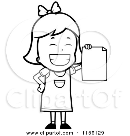 Cartoon Clipart Of A Black And White Girl With A Pencil.