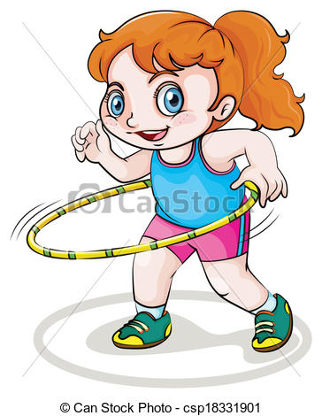 Vector Clipart of A little Caucasian girl playing with the.