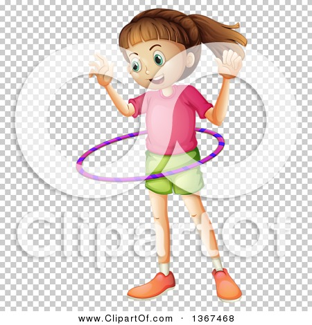 Clipart of a White Girl Playing with a Hula Hoop.