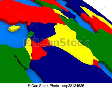 Drawings of Caucasus region on colorful 3D globe.