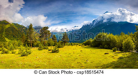 Picture of Fantastic landscape in the Caucasus mountains. Upper.