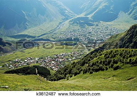 Picture of Kazbegi city on the Georgian Military Highway, Caucasus.