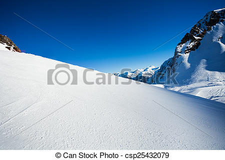 Picture of Snow view and Caucasus mountains, Sochi ski resort.