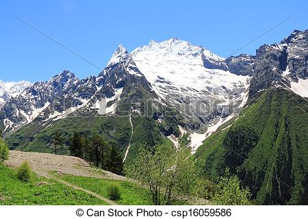 Pictures of Caucasus mountains in Russia.
