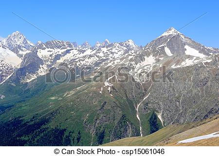 Drawing of Caucasus mountains Dombai.