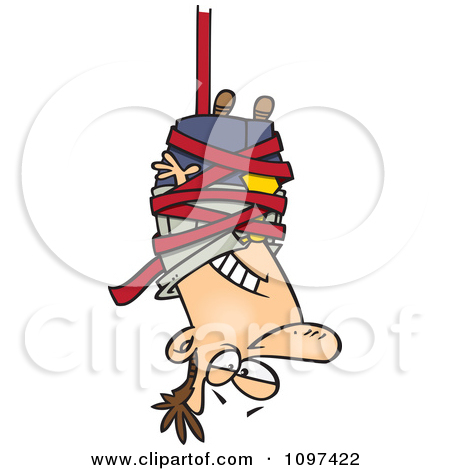 Clipart Businessman Caught Hanging Upside Down In Red Tape.