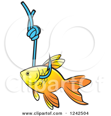 Clipart of a Goldfish Caught on a Hook.