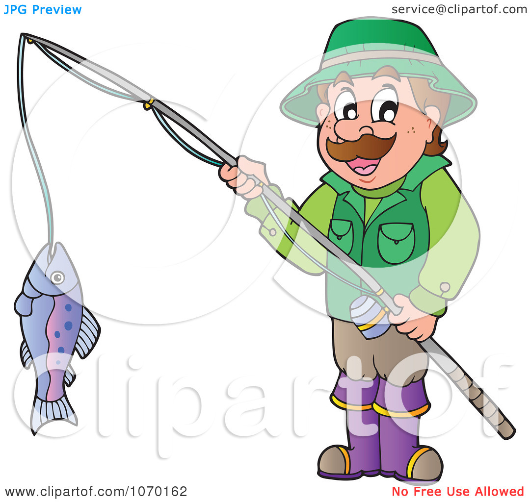 Clipart Man Holding His Catch On A Fishing Pole.