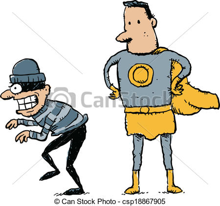 Vector Clipart of Caught Criminal.