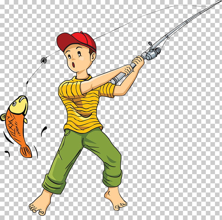 Fishing rod Cartoon , Catch fish PNG clipart.