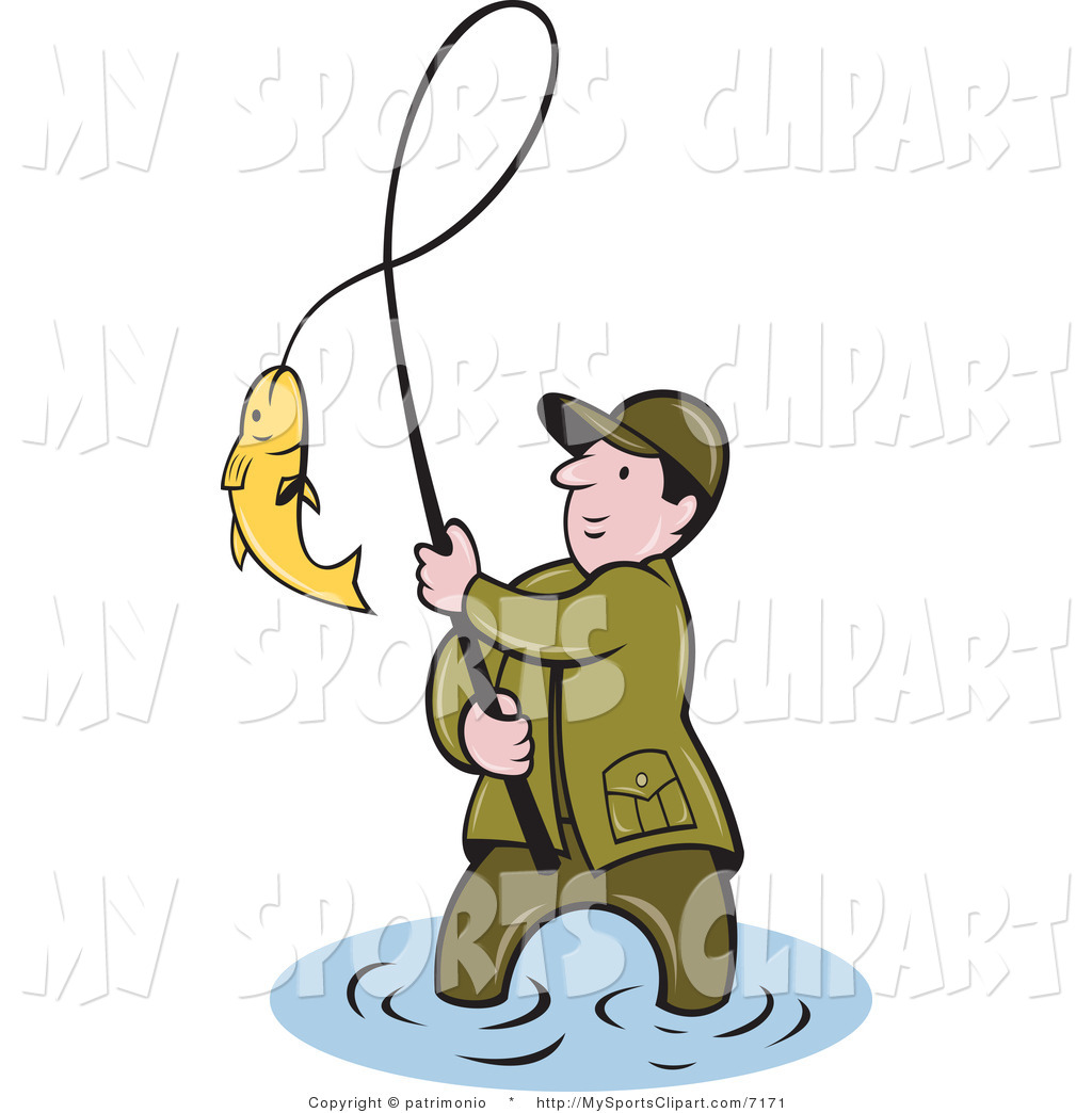 Fisherman clipart caught fish, Fisherman caught fish.