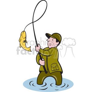 fisherman catching a fish clipart. Royalty.
