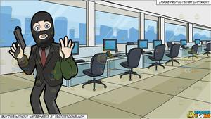 A Surprised Robber Being Caught In The Act and A Modern Call Center  Background.