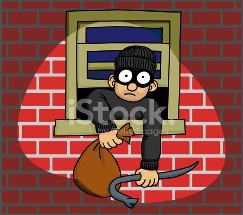 Burglar Caught IN The Act 2 Stock Vector.
