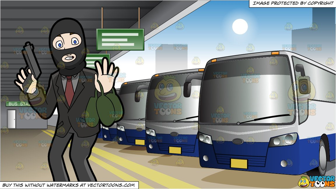 A Surprised Robber Being Caught In The Act and Exterior Of A Bus Station  Background.