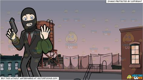 clipart #cartoon A Surprised Robber Being Caught In The Act.