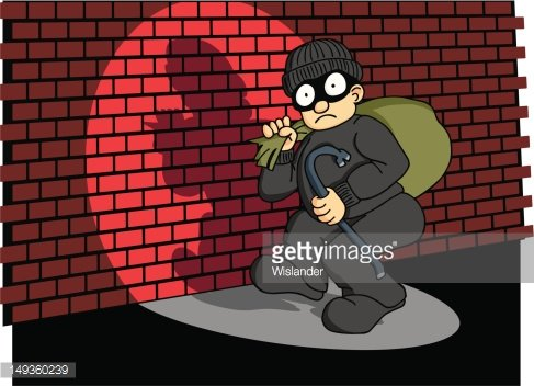 Burglar Caught in the Act 3 Clipart Image.