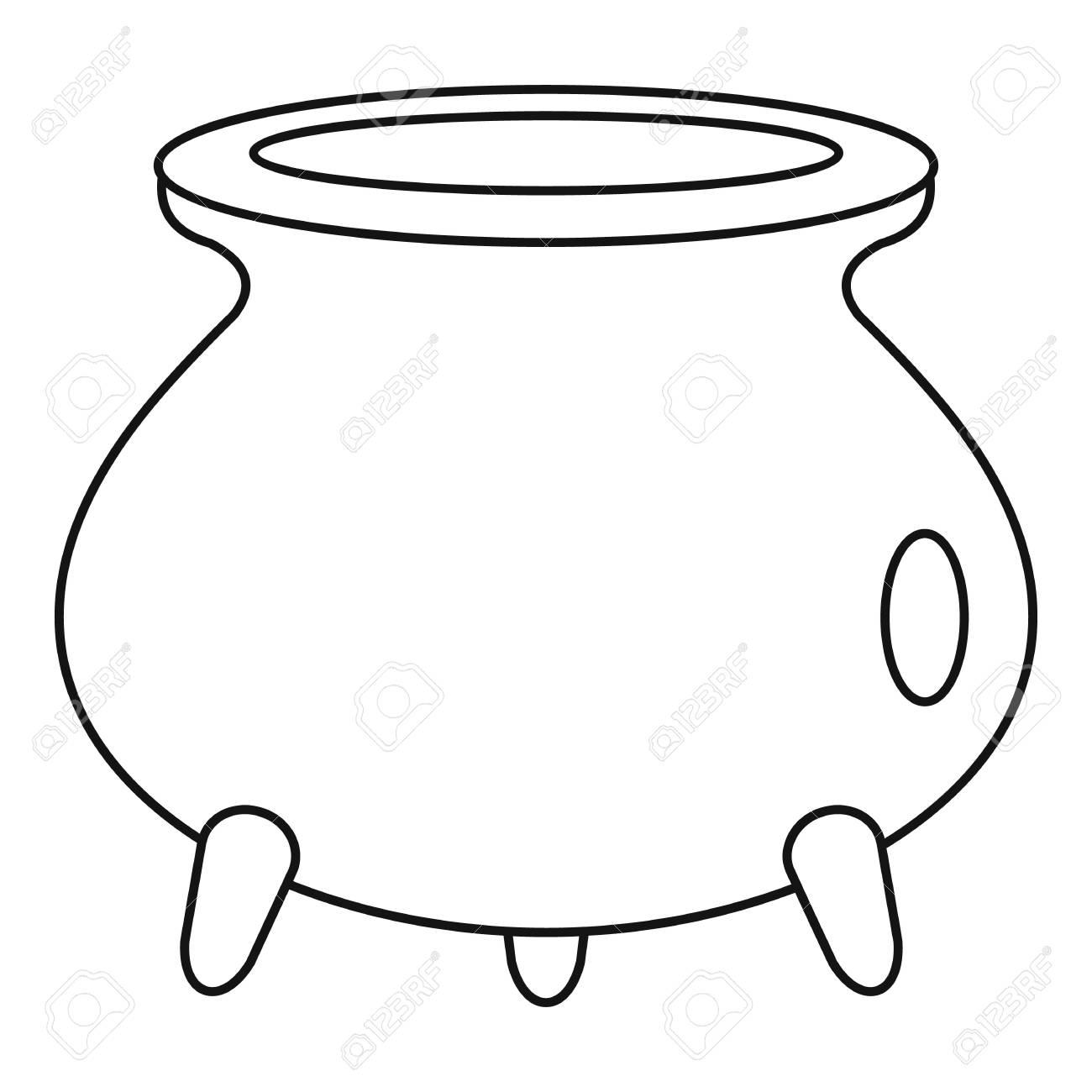 Halloween cauldron icon. Outline halloween cauldron vector icon...