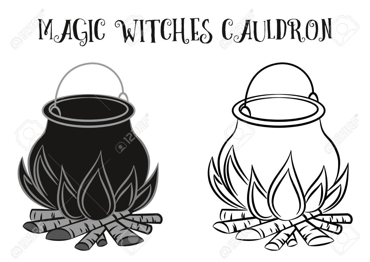 Illustration of black and white cauldron..