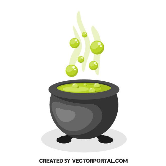 Cauldron vector clip art.